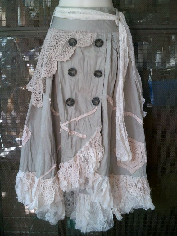 lagenlook shabby cotton overlapped skirt with shabby by wildskin