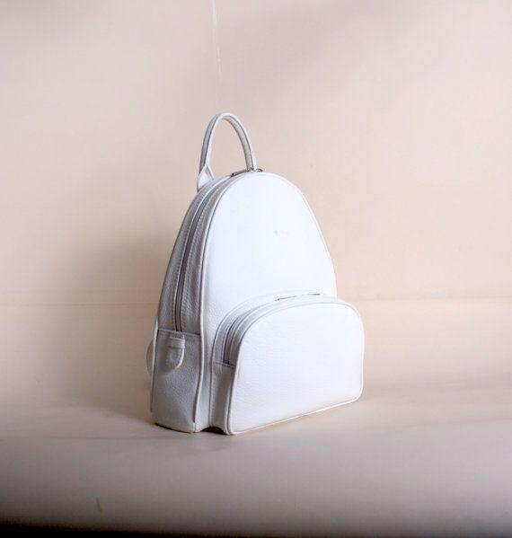 Mochila de cuero KATLYN / / blanco beige negro piel de por GIONbag