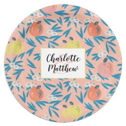 Apple Floral Coral Pink Navy Wedding Paper Plate - party gifts gift ideas diy customize