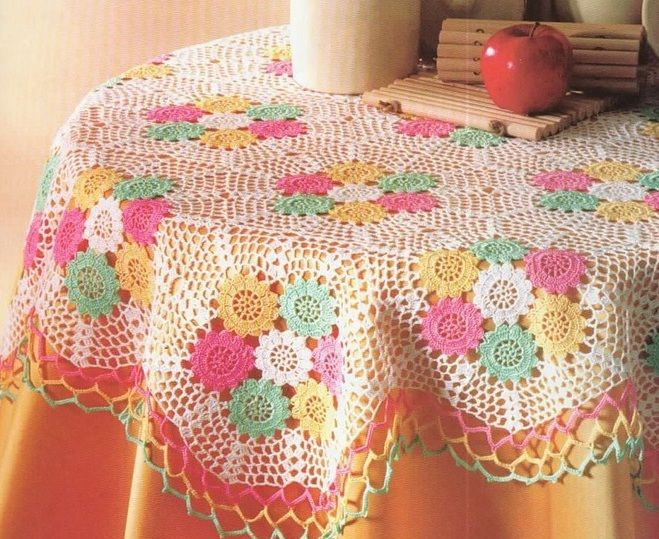 Crochet patterns for beautiful tablecloth. I could see this with the flowers in red and blue for 4th of July.