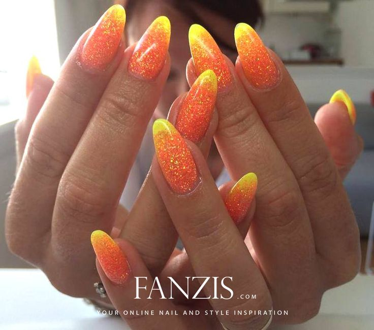 neon yellow and neon orange glitter acrylic nails in our nailgallery at www.fanzis.com - by the danish champion in gelnails, Marlene Bech -> https://www.facebook.com/MarleneBechNAST