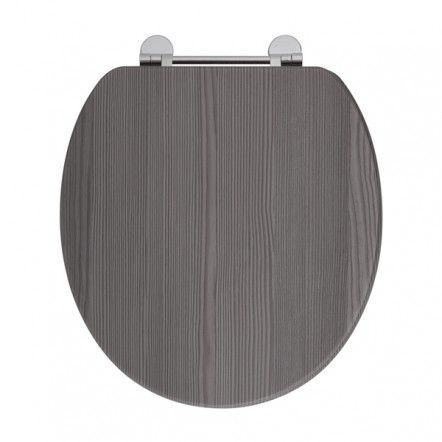 Frontline Avola Grey Wooden Toilet Seat with Chrome Fittings