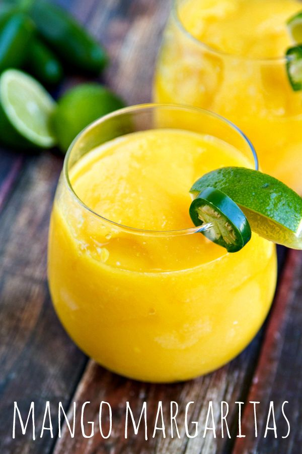 Mango margaritas by the pitcher. Loads of flavor and refreshing on these hot summer days! Includes several ideas for how to spice them up, too!