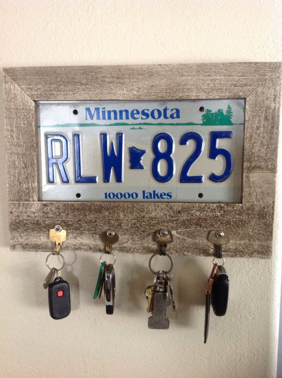 Key holder, license plate key holder, key hanger, key organizer, frame key ring holder, unique, antiqued.