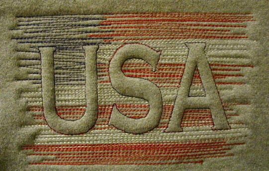 USA Flag Trapunto Sample by Black Duck Embroidery and Screen Printing, via…