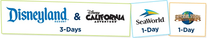 Southern California CityPASS.  Discount pass for Disneyland, CA Adventure, Sea World and Universal Studios.