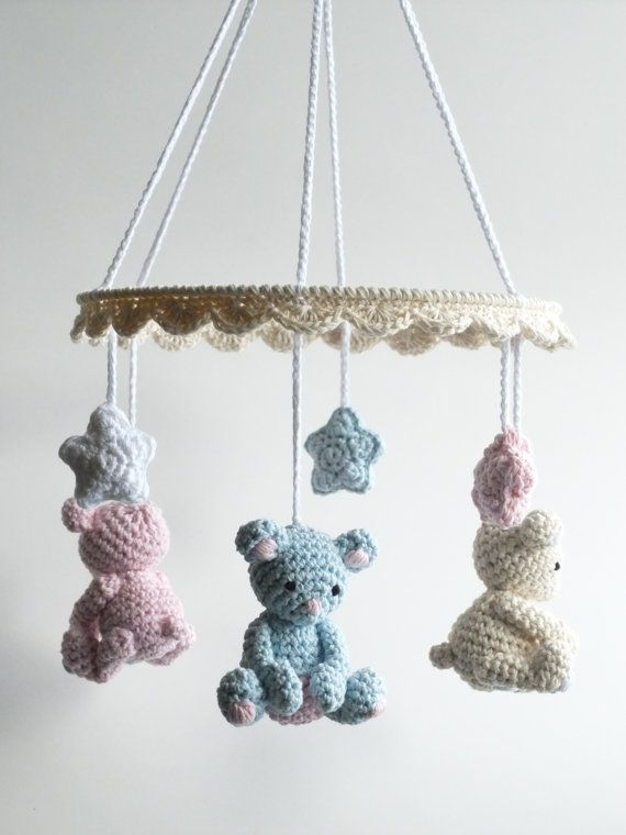 Baby Mobile Crochet Teddy Bear Mobile Handmade Baby by HOOKAshop