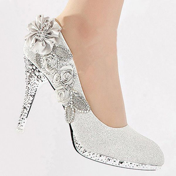 These might be THE shoes!... Silver Vogue lace Flowers Glitter Crystal High Heels Wedding Bridal Shoes