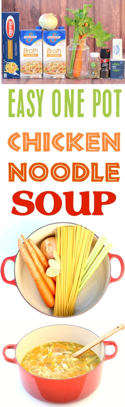 Chicken Noodle Soup Easy Homemade Recipe!  This delicious One Pot dutch oven soup is so simple to make and SO delicious!!  Add it to your menu this week!