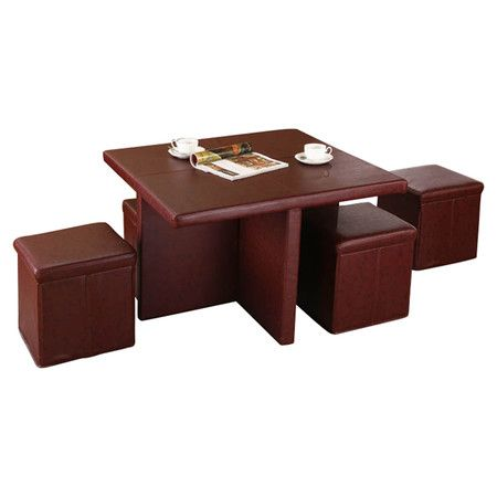 Found it at Wayfair - 5 Piece Coffee Table & Ottoman Set in Burgundy  -- I have a similar set ('60's vintage) in black and white.  My table top slides to back to reveal a bar compartment in the table base.