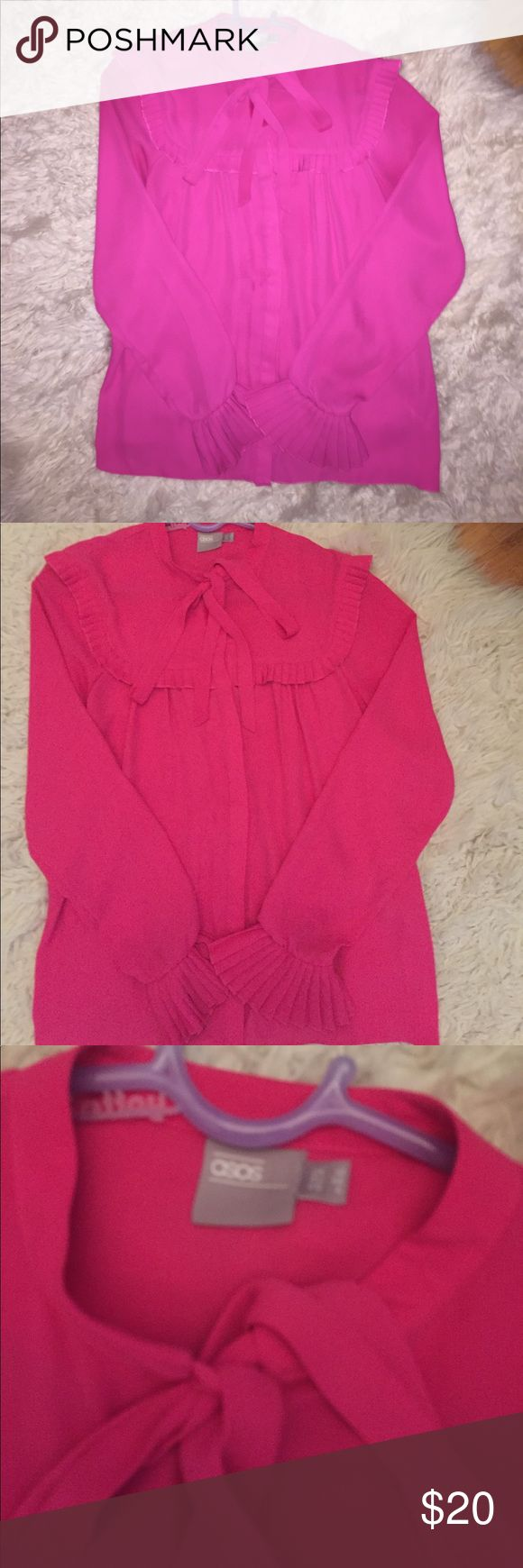 ASOS hot pink blouse with frills and bow ASOS blouse with bow at top and beautiful sleeves with elastic at bottom to hold frills! ASOS Tops Blouses