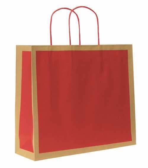 Papírová taška RETRO. Červený tisk na hnědém recyklovaném papíru 110g, horní přehyb. Hnědá kroucená papírová držadla. Vhodné pro dotisk sítotiskem. http://shop.svettasek.cz/eshop2/katalog.aspx?nadskupina=K22
