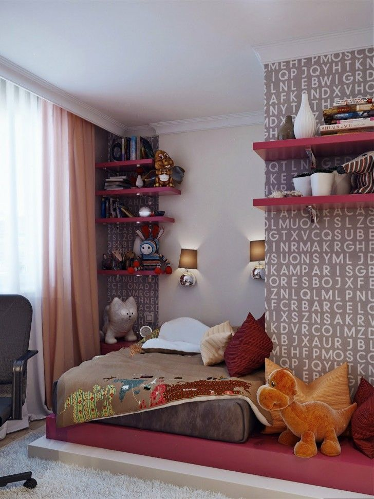Bedroom, Typographical Wallpaper Pink Shelves Platform Bed Grey Bed Pillows Blanket Cream Shag Rug Dools Wall Lamps Curtain Chair Vase Clock Book Armchair And Contempory Teenage Girls Bedroom ~ Beautiful Teenage Room As Well As Possible