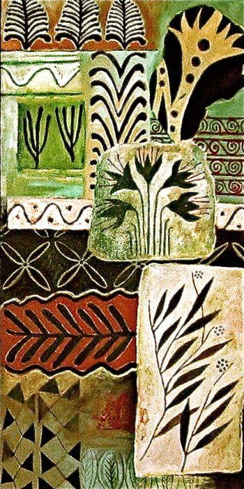 Ancient mediterranean motifs, oil on canvas board by Sophie Munns