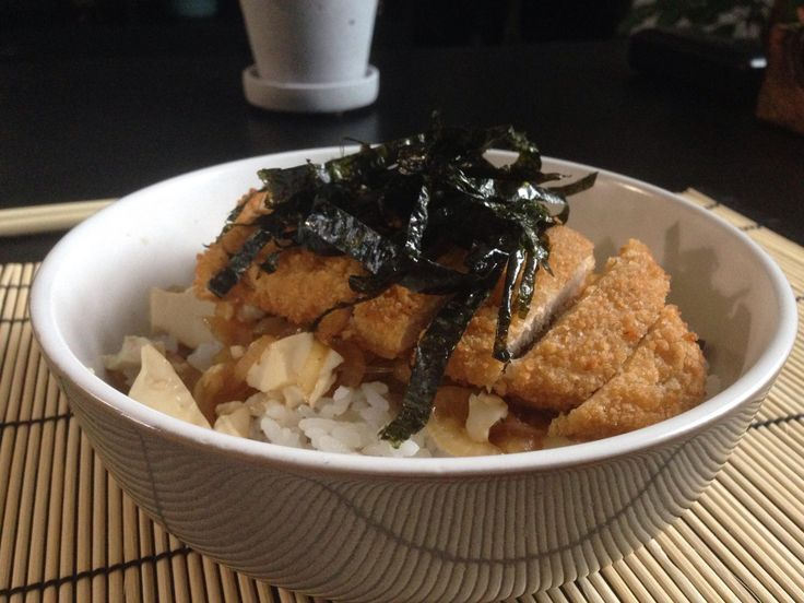 """Vegan tonkatsu - quorn cutlet served over sticky rice with homemade tonkatsu gravy and silken tofu """"egg"""" topped with shredded nori"""