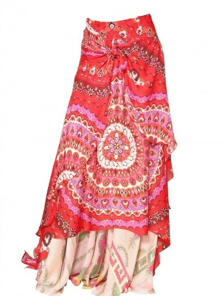 red and pink silk charmeuse skirt with draped front, knot / twist detail, and three layers.