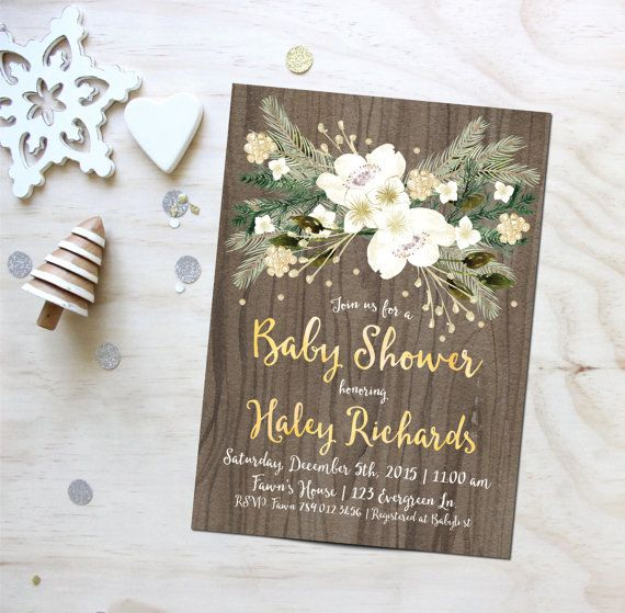 Christmas Baby Shower Invitation Printable, December Holiday Invite, Winter White & Gold, Evergreen, Rustic Invitations, Bridal Shower