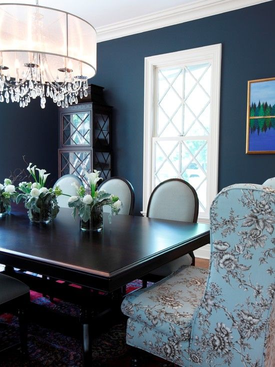 Dark Blue Walls Design Pictures Remodel Decor And Ideas Colors Darling House Room Pinterest Dining