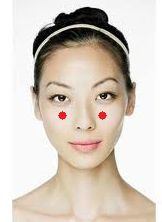 To cure acne and blemishes massage these accupressure points, located 1 inch below the pupil and on the cheek. You should feel the cheek bone too.