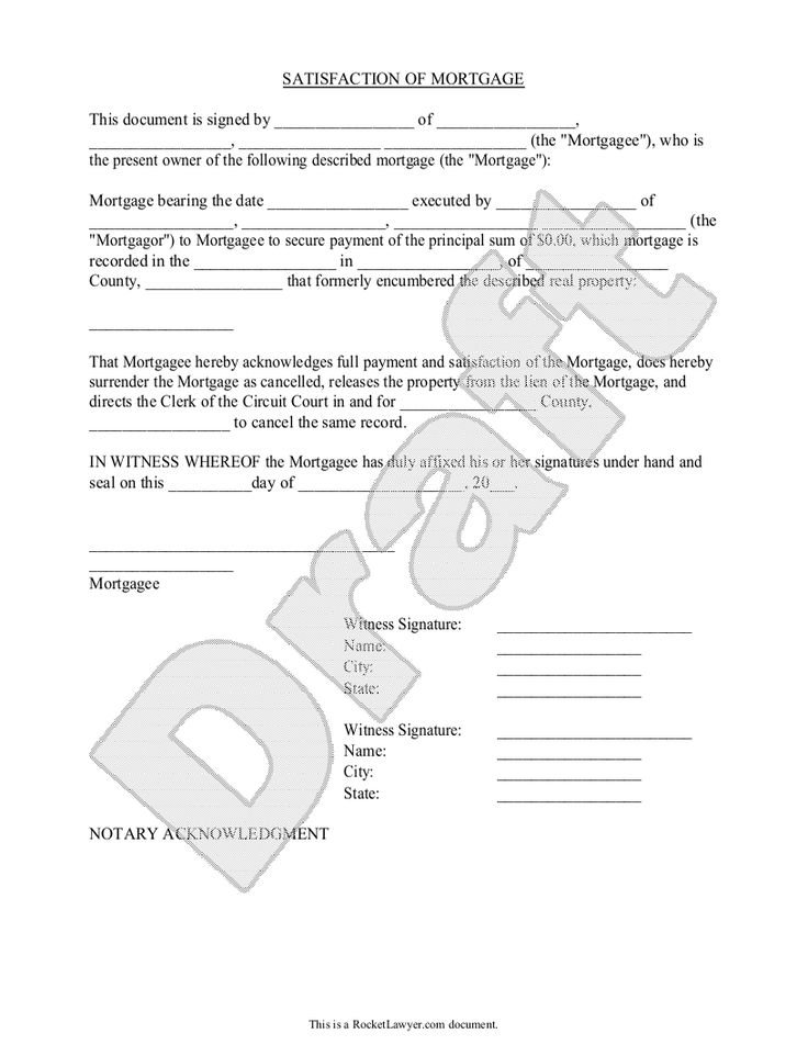 Sample Satisfaction of Mortgage Form Template Projects to Try - blank mortgage form