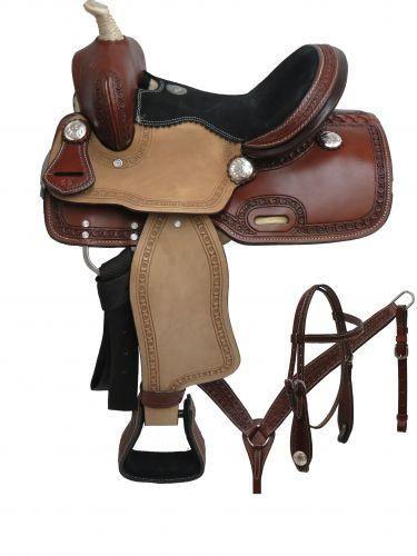 Double T pony saddle set with tooled border