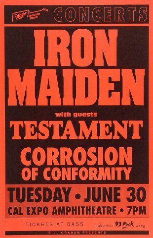 Iron Maiden Poster from Cal Expo Amphitheater on 30 Jun 1992