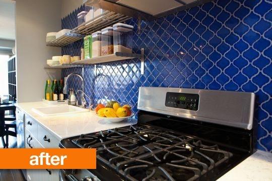 blue tiles in kitchen