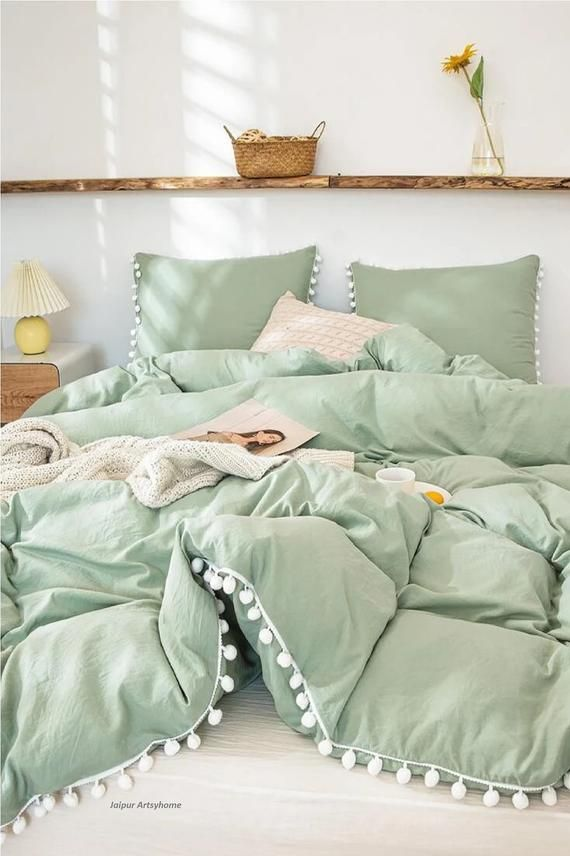 Sage Green Color And White Pom Pom Cotton Fringes Tassels Duvet Cover With Button 100 Cotton Duvet Cover Twin Full Double Queen King Size In 2021 Sage Green Bedroom Room Ideas