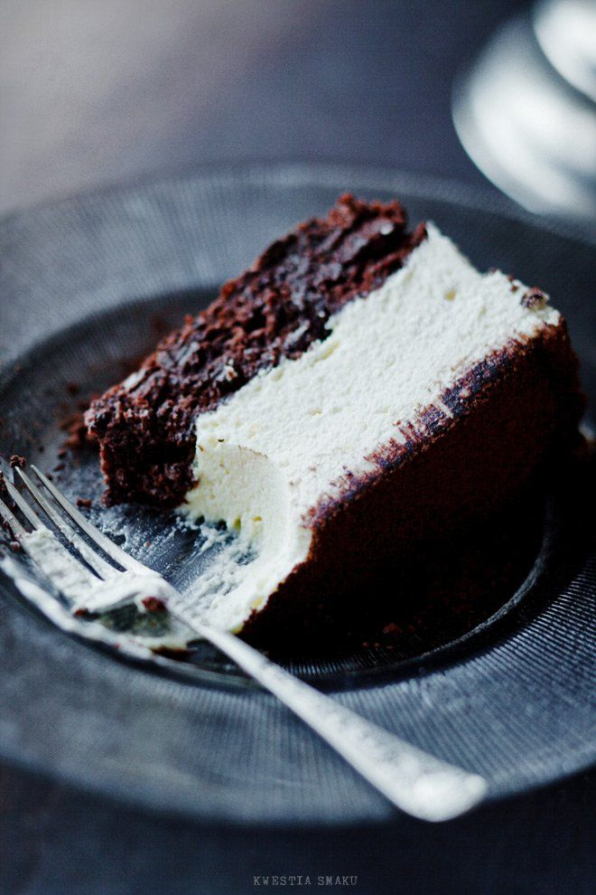 White chocolate mousse cake. Make using wacky chocolate cake and top with chocolate mousse.