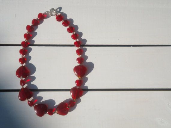 Queen of Hearts Necklace in Red Glass and Amethyst by CustardFox, $38.00