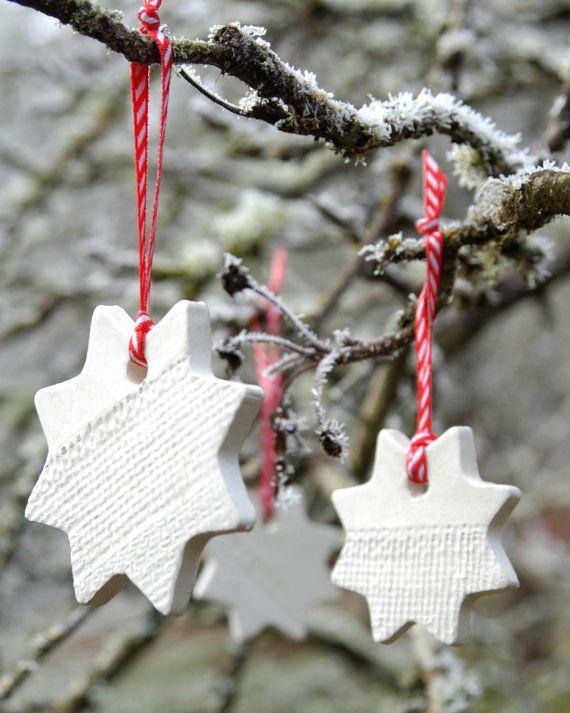 #Ceramic #Ornament with Burlap Impression #christmas