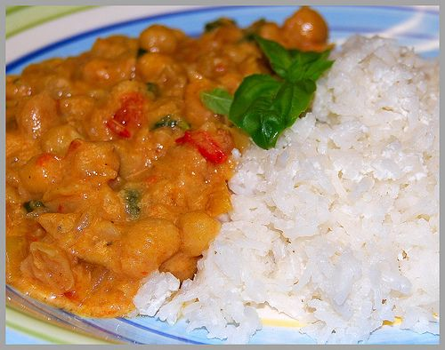 Thai Curried Chickpeas with Thai Coconut Rice