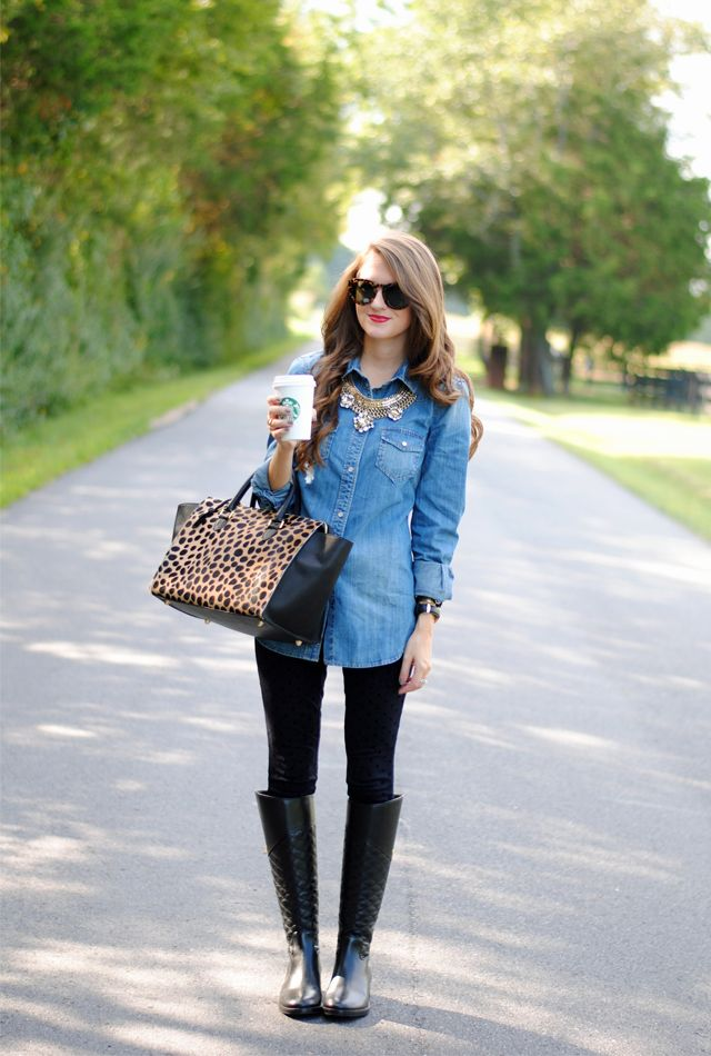 Perfect fall outfit: chambray top, polka dot black skinnies (or just black leggings), black boots, statement necklace, leopard purse/clutch
