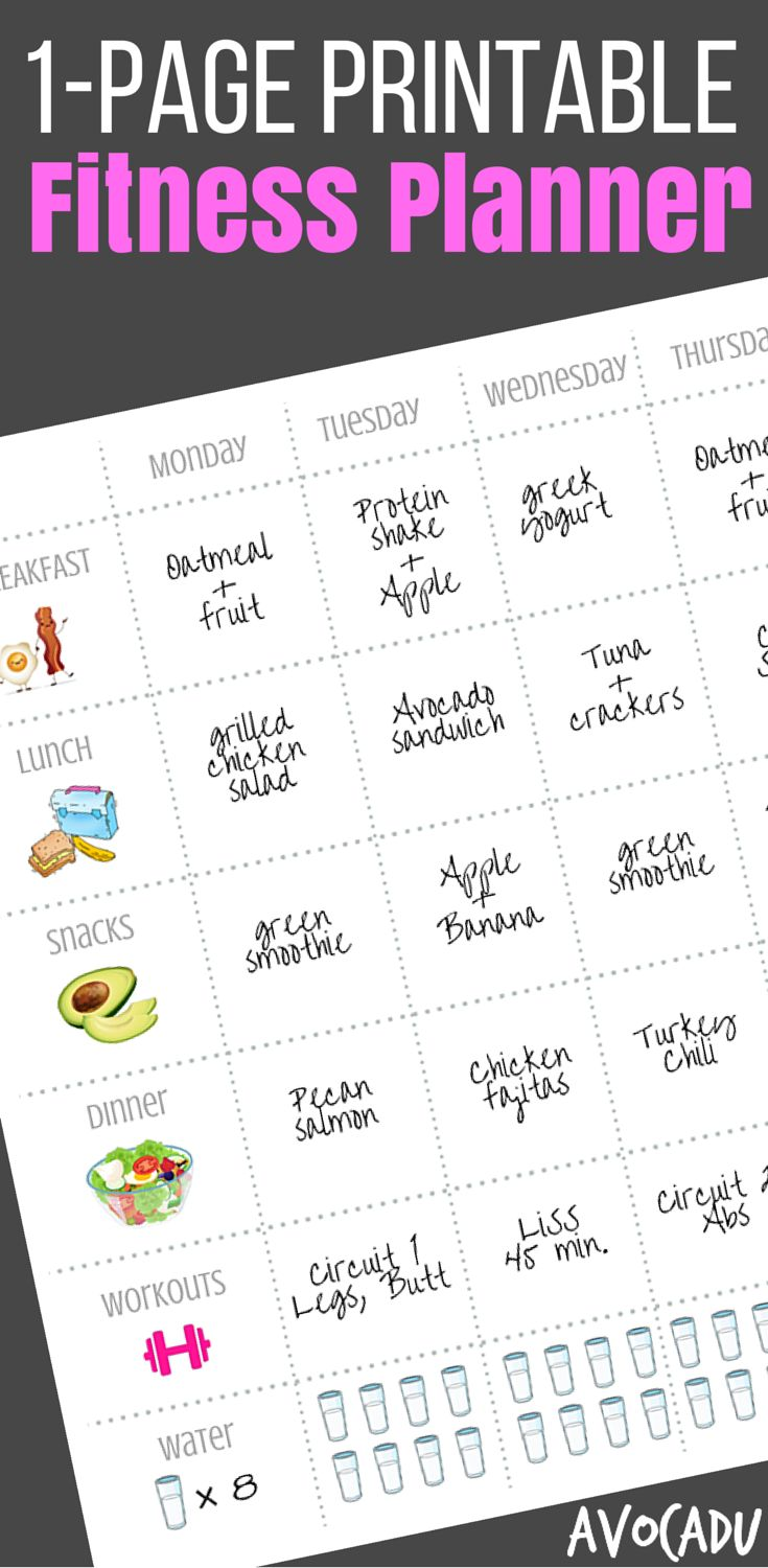 This free fitness planner will help you record your diet and workout plan and lose weight fast! Pin it up on your fridge to remind you of your weight loss goals! http://avocadu.com/fitness-planner/