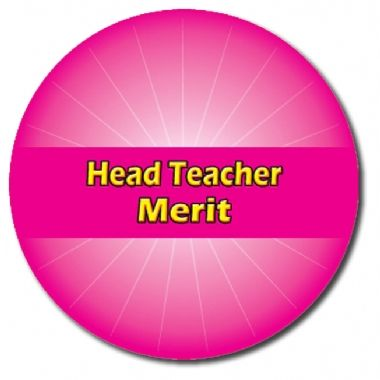 Sheet of 70 Customised Pink Head Teacher Merit 25mm Stickers