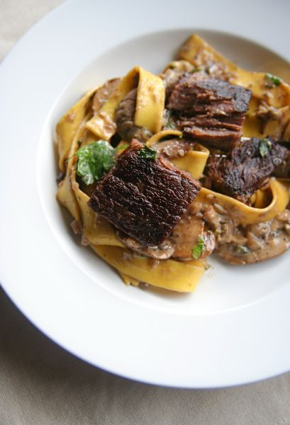 Thomas Keller's (French Laundry) Ad Hoc Beef Stroganoff.  This site has 21 of his recipes culled from a web search!