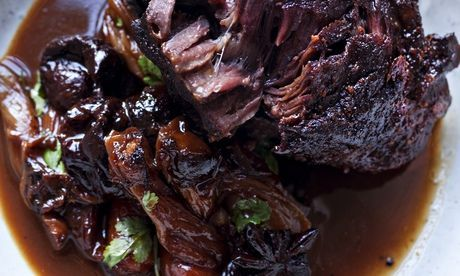 Nigel Slater's ox cheeks with prunes and star anise recipe.  Photograph: Jonathan Lovekin for the Observer