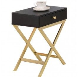 Marilyn Bedside Table - Black/Gold