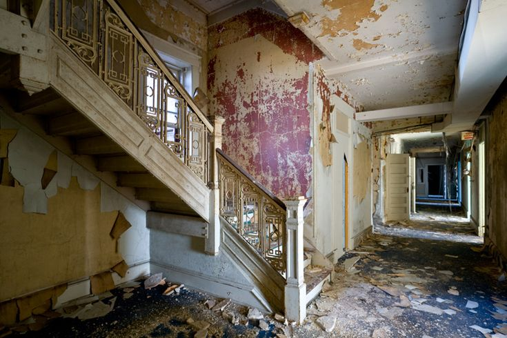 Stair rails of abandoned Waldo Hotel in West Virginia.