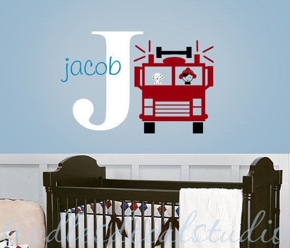 Fire Truck Fireman Dog Boys Initial Name Personalized Kids Vinyl Wall Decal Sticker