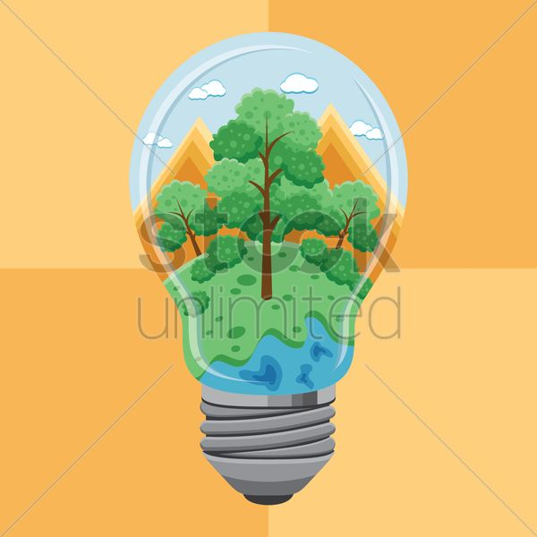 Forest in electric lightbulb