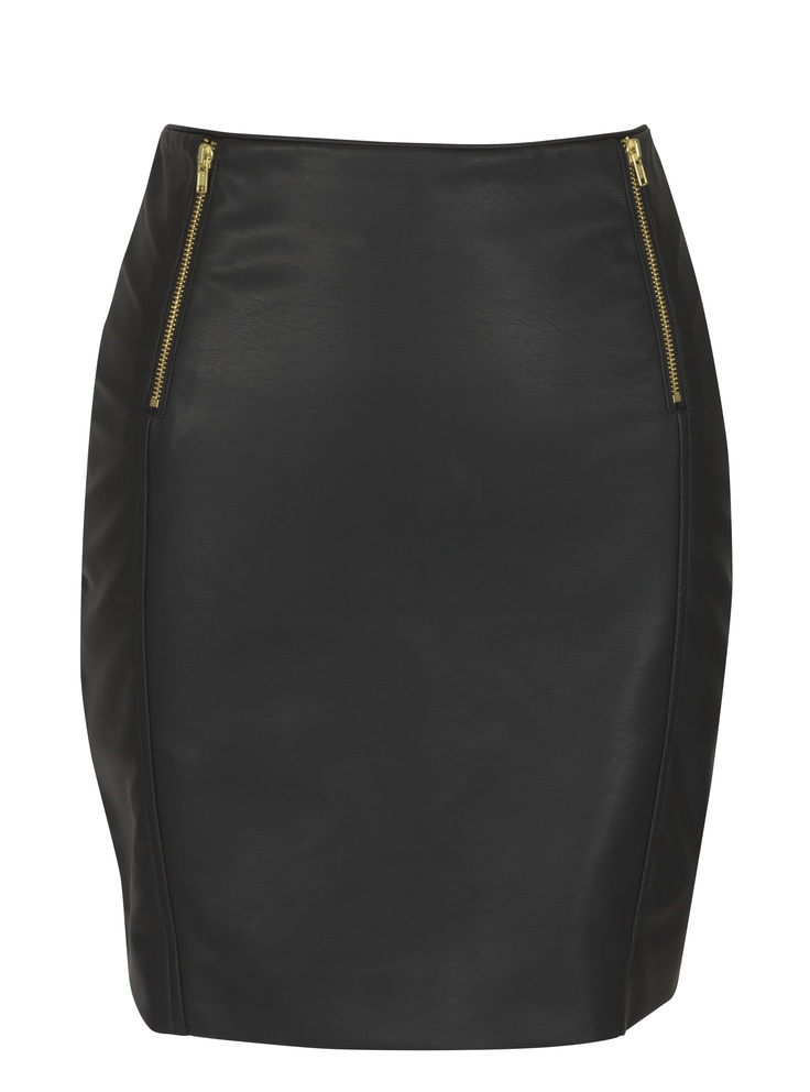 Leather mini with zip detail