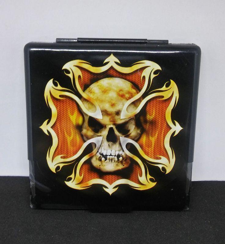 Nulite Flaming Skull Tin Metal Flat Profile King Size Cigarette Case