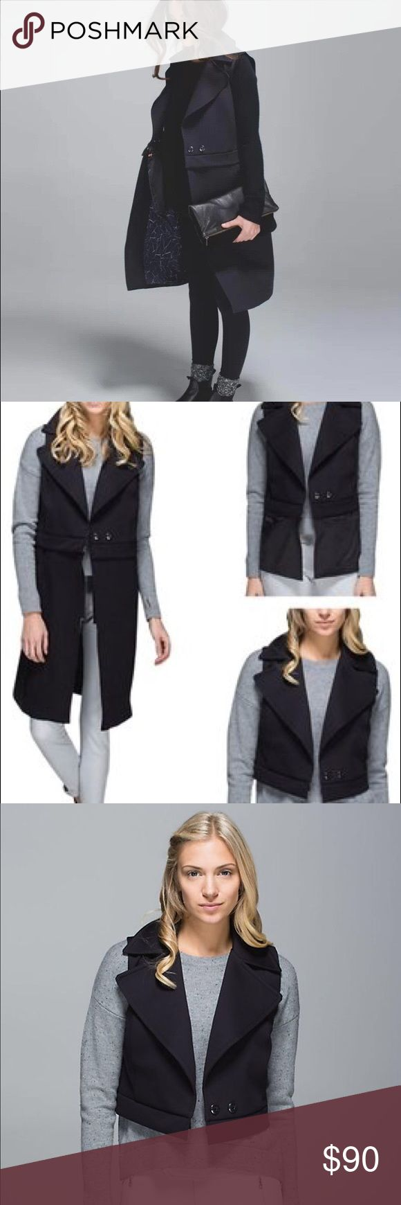 """Lululemon Quick Change Vest """"Whether we're heading to work or out for drinks after, we rely on this lightweight, versatile vest to keep us feeling sharp.  layer under your coat or over your favourite hoodie to keep your core warm sweat-wicking Spacer shell and Swift Ultra Light liner is four-way stretch to move with you en route we've got your storage needs covered there is a pocket for almost everything, even your pen!"""" Three different lengths with easy zipper switching! Only worn a couple…"""