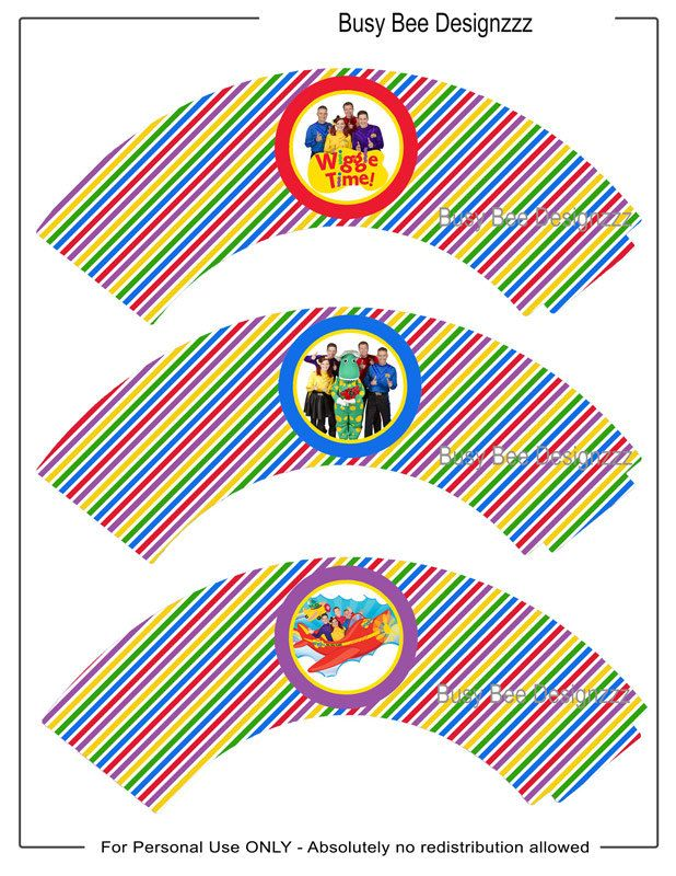 Wiggles Cupcake Wrappers Digital Download  by BusyBeeDesignzzz, $1.95