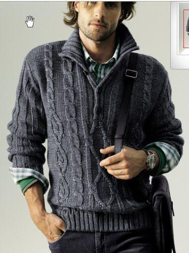 Мужской вязаный джемпер с застежкой поло - Джемперы, пуловеры для мужчин - Галерея - Knitting Forum.Ru