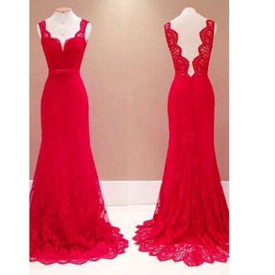 Mermaid Prom Dresses, Lace Red Long Prom Dresses,Evening Dresses,Floor Length Prom Dresses #promdresses #SIMIBridal