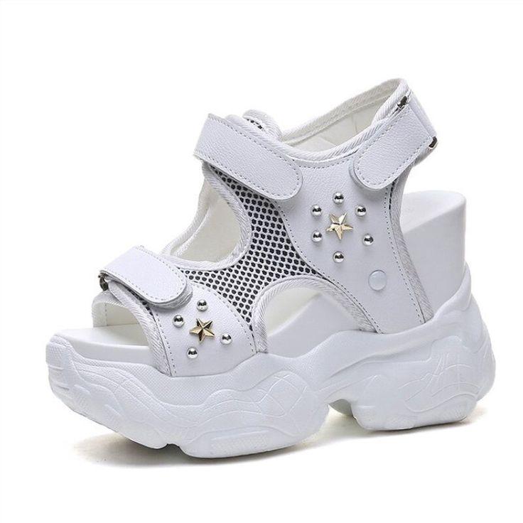 Women Sandals 2019 New Summer High Platform Wedge Sneakers 11.5CM High Heels Peep Toe Sandals Woman Thick Bottom Beach Slippers
