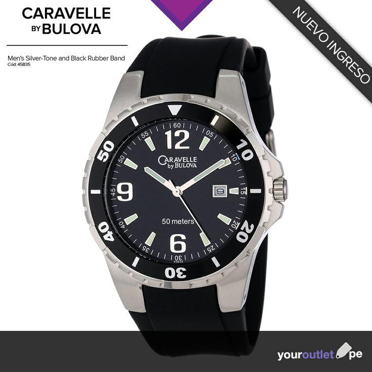Descubre lo nuevo de Caravelle by Bulova: reloj Men's Silver-Tone con correa de caucho.  Visítanos en Compupalace o adquiérelo en nuestra página web al mejor precio.