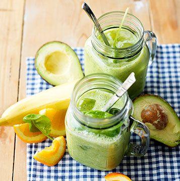 Groene power smoothie. - Banaan, avocado, peer en sinaasappel smoothie